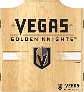 Trademark Global Dart Board Cabinet Set- Vegas Golden Knights Dartboard Game Includes 6 Steel Tip Darts, Scoreboard & Hanging Wood Cupboard