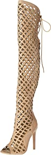 Women's Elnora Peep Toe Laser Cutout Over The Knee Thigh High Back Lace Tie Boot