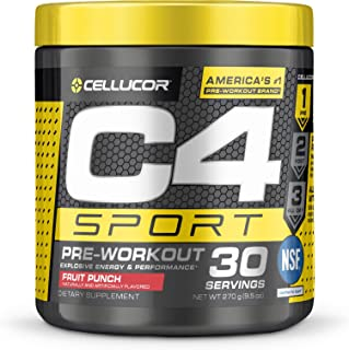 C4 Sport Pre Workout Powder Fruit Punch | NSF Certified for Sport + Sugar Free Pre-workout Energy Supplement for Men & Women | 135mg Caffeine + Creatine monohydrate | 30 Servings