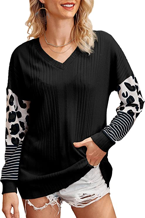 COOLUCK Womens Long Sleeve T Shirts Round Neck Raglan Leopard Stripe Casual Tunic Tops Blouses Women's Tees…