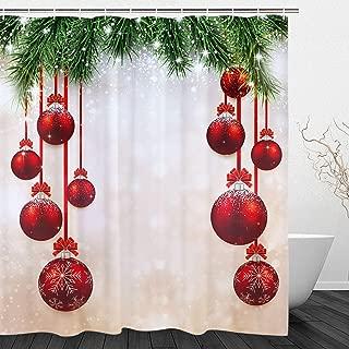 BLEUM CADE Christmas Shower Curtain Winter Festival Theme Bathroom Curtain Fir Twigs and Balls Graphic Bathroom Decor Set with Hooks