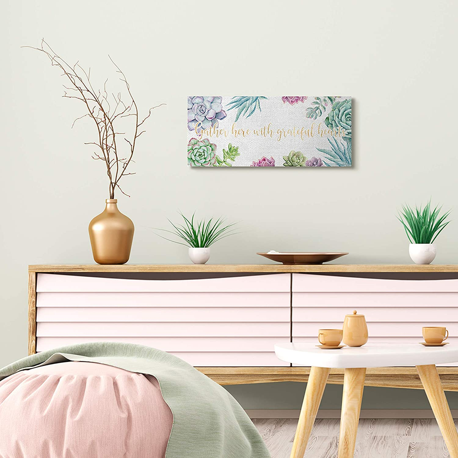 Off-White Designed by Ziwei Li Canvas Wall Art 10 x 24 Stupell Industries Gather Here Grateful Hearts Phrase Blooming Succulents