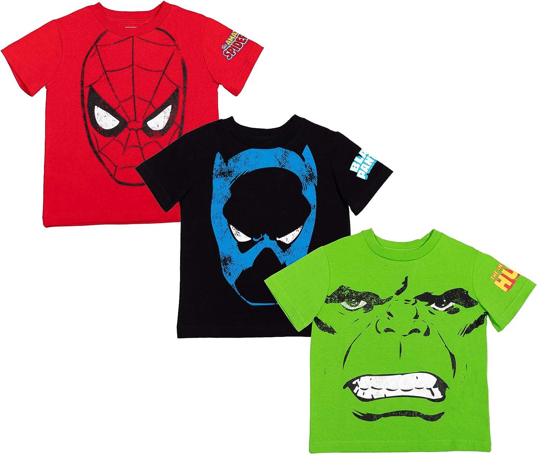 Marvel Avengers Spiderman Hulk Black Panther Avengers 3 Pack Short Sleeve T-Shirts