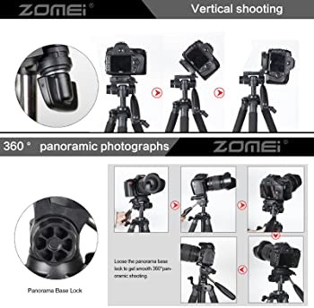 ZOMEI 58'' Compact Light Weight Travel Portable Aluminum Camera Tripod for Canon Nikon Sony DSLR Camera with Carry Ca...