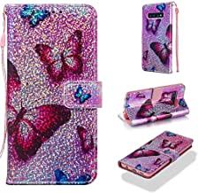 Case for Galaxy S10,Flip Durable Smooth PU Leather Wallet Cover Sparkle Glitter Bling Shockproof with Inner Soft Bumper Wrist Strap Kickstand Folio Case Compatible with Samsung Galaxy S10 -Butterfly