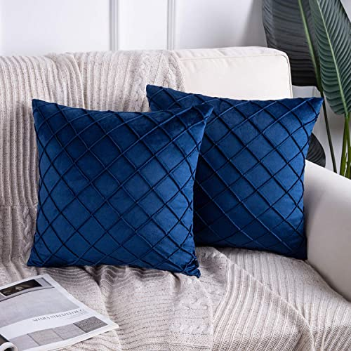 2021 Phantoscope Pack of wholesale 2 Velvet Decorative Pleated Throw Pillow Covers Soft Solid Square Cushion Case for Couch Navy Blue, 18 x 18 inches 45 popular x 45 cm online