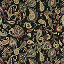 A0021C Red Orange Yellow Green and Black Floral Paisley Contemporary Upholstery Fabric by The Yard
