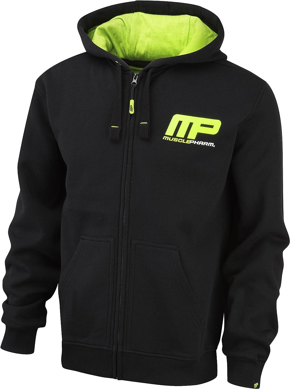 Musclepharm Men's 447 Zip Through Hoodie  Black Lime Green, Large