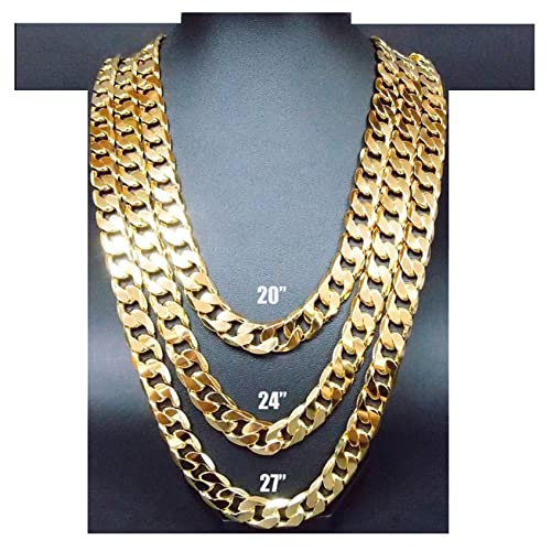 552ab98372ce0 Hollywood Jewelry 14K Gold Chain Cuban Necklace 11MM Miami Link w Real  Solid Clasp USA