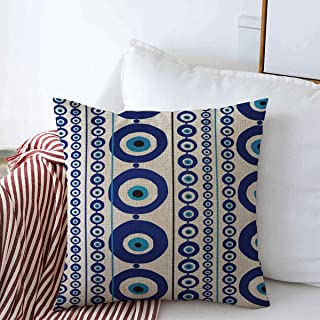 Throw Pillows Cover 20 x 20 Inches Blue Greek Eye Amulet Turkey Nazar Hang Colorful Turkish Protect Charm Greece Lucky Tradition Luck Cushion Case Cotton Linen for Fall Home Decor