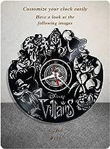 Disney Villains vinyl clock, vinyl wall clock, vinyl record clock, walt disney clock maleficent the evil queen jafar captain hook scar gaston wall art home decor kids gift 157 - (c2)