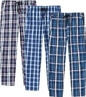 MoFiz Men's Pyjama Bottoms 100% Cotton Woven Plaid Lounge Pants Sleepwear with Pockets