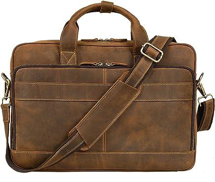 b69e8a7a46 Jack Chris Men s Genuine Leather Briefcase Messenger Bag Attache Case 14