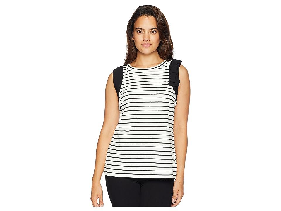 Ivanka Trump Sleeveless Knit Top with Open Hem (White/Black) Women's Clothing
