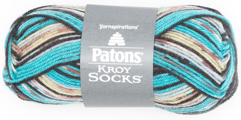Patons Kroy Socks Yarn  (1) Gauge  1.75 oz  Turquoise Jacquard  For Crochet, Knitting & Crafting