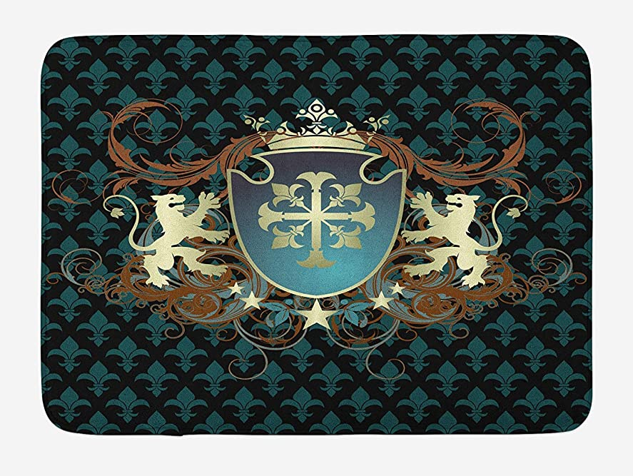 に対応するアルネのAmxxy 中世の紋章デザイン紋章王冠ライオンとワールプールバスマットドアマットフランネル素材ホテルのバスルームリビングルームベッドルームキッチンに適した屋外ドア装飾ルーム