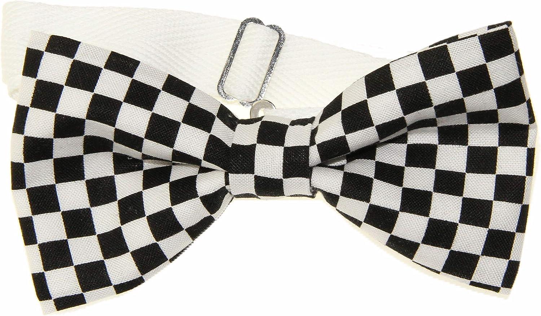 Men's Black / White Checkered Pre-Tied Cotton Bow Tie On Adjustable Twill Strap