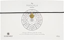 Mandala Small Center Circle Choker Necklace on Black Leather Cord