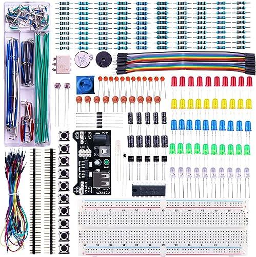 ELEGOO Upgraded Electronics Fun Kit w/Power Supply Module, Jumper Wire, Precision Potentiometer, 830 tie-Points Bread...