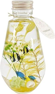 サマードロップ エンジェルフィッシュ 貝 母の日 ハーバリウム プリザーブドフラワー シリコンオイル ドロップ型 ボトル ケース付 誕生日 贈り物 玄関 (サマー イエロー)