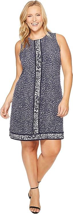 Plus Size Cheetah Sleeveless Border Dress