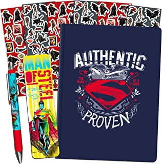 DC Comics Superman Journal Pen Office Supplies Set -- Superman Notebook with Deluxe Pen, Bookmark, and Stickers (Superman Gifts for Boys Men Girls Women)