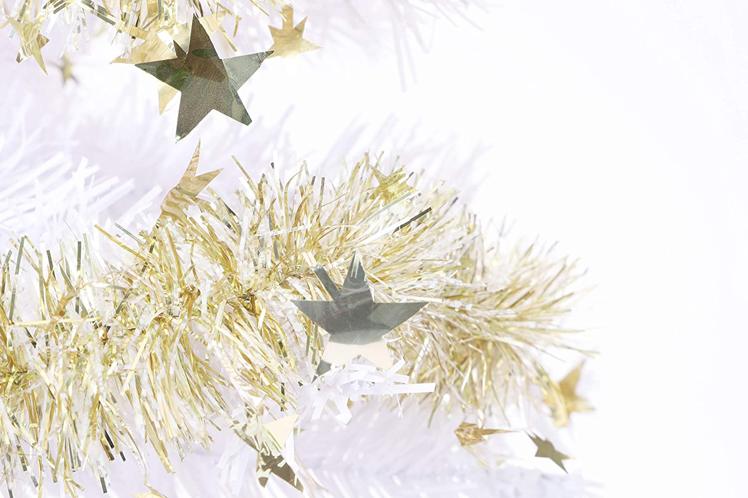Gold Christmas Tree Decorations BALLOONSHOP Toyland/® 2m Tinsel Garland with Stars Thin Strands