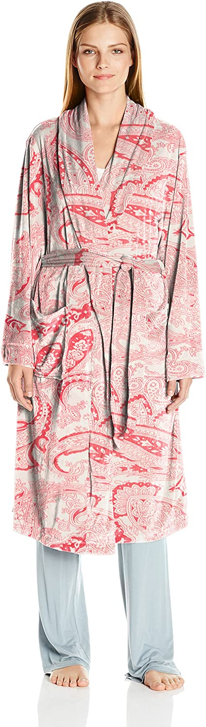 Ellen Tracy Womens Long Baby Fleece Komono Wrap Robe Bathrobe