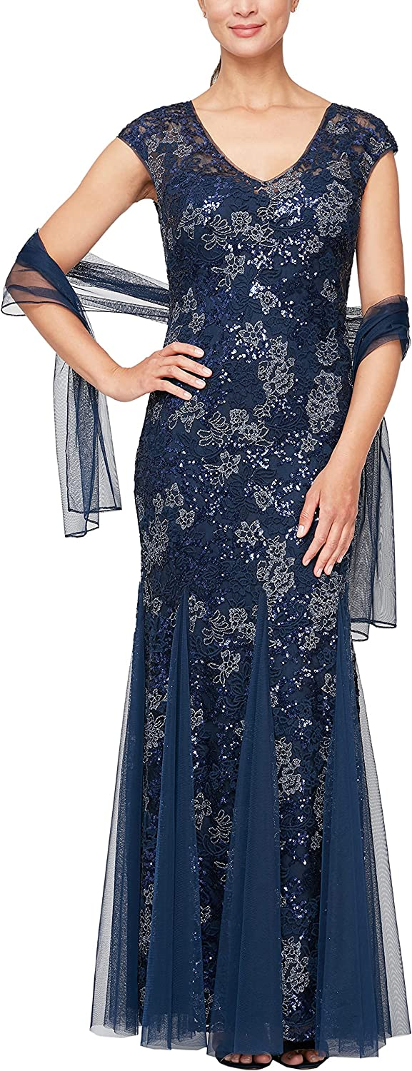 Alex Evenings Women's Long V Neck Fit and Flare Dress with Shawl (Petite Regular)