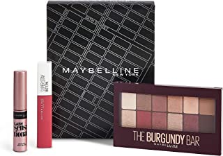 Maybelline New York - Maybelline New York - Paleta de Sombras The Burgundy Bar + Super Stay Matte Ink tono 15 Lover + Mini Máscara Lash Sensational 100 g - Set de Maquillaje