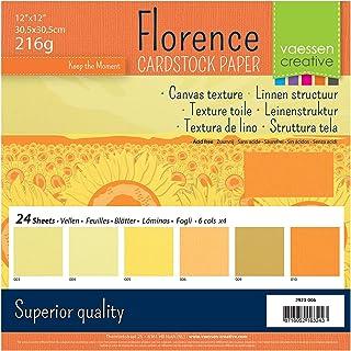 Vaessen creative 2923-006 Florence Papier Cartonné, Couleurs Jaunes, 216g, 30,5 x 30,5 cm, 24 Feuilles, Surface Texturée, ...