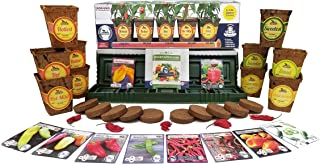 Windowsill Pepper Garden Seed Starter Kit - Pepper Planter Complete w/ 10 Varieties of Non-GMO Heirloom Pepper Seeds, Pots, Coco Coir Soil, and Drip Trays by Sustainable Seed Company
