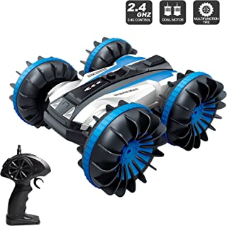 Amphibious RC Stunt Car 2.4Ghz - 4WD Water and Land Remote Control Boat Truck Monster Double Sided Rotate, 360 Degree Spinning and Flips Land Wateproof elecrtric Car Toy.