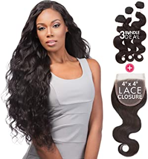Sensationnel Virgin Remy Human Hair Weave Bare&Natural Body Wave 3pcs with 4