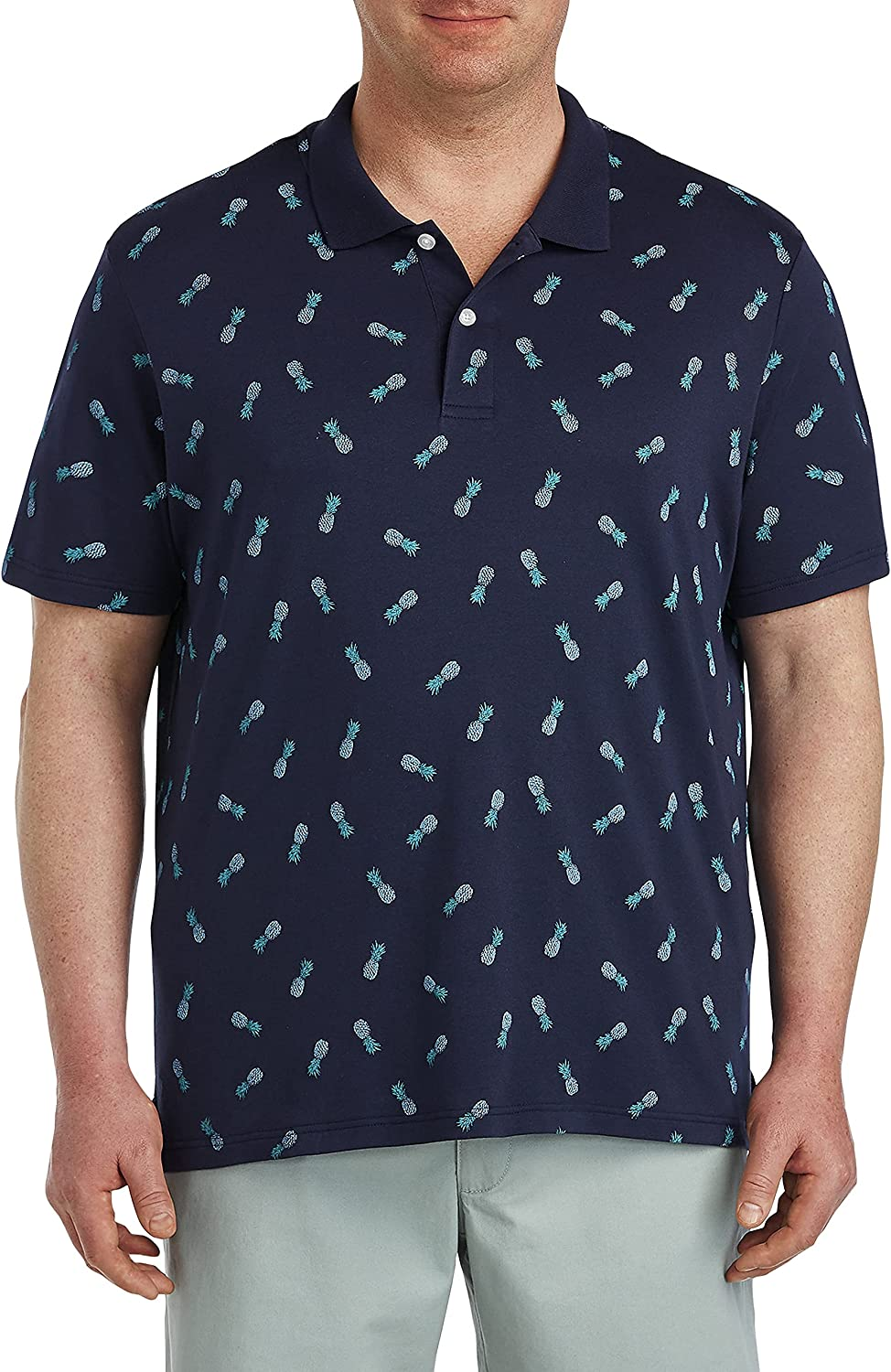 Harbor Bay by DXL Big and Tall Pineapple Print Polo Shirt, Blue, XLT