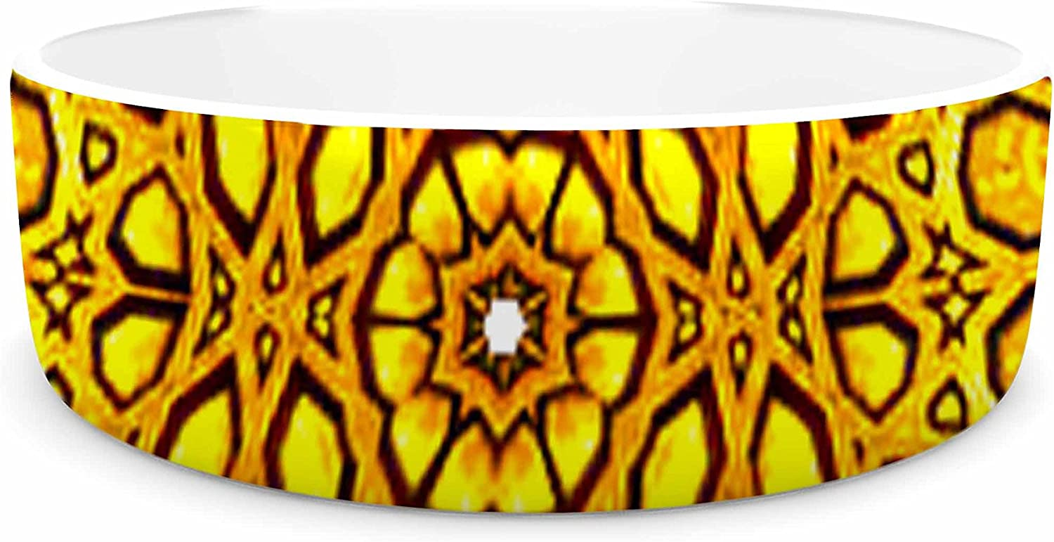KESS InHouse Philip Brown golden Kaleidoscope gold Yellow Pet Bowl, 7  Diameter