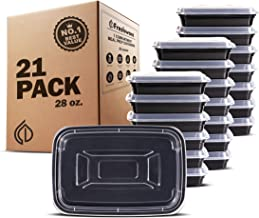 Freshware Meal Prep Containers [21 Pack] 1 Compartment with Lids, Food Storage Bento Box | BPA Free | Stackable | Lunch Boxes, Microwave/Dishwasher/Freezer Safe, Portion Control, 21 day fix (28 oz)