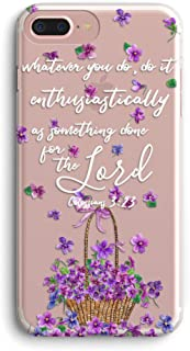 iPhone 7 Case,iPhone 8 Case,Stunning Flowers Floral Petal Basket Bible Verses Christian Inspirational Colossians 3:23 Clear Soft TPU Anti Scratch Protective Case Cover for iPhone 7/8 …