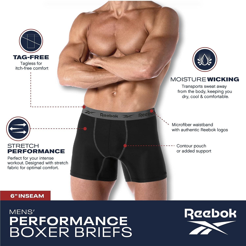 Reebok Men's Active Underwear - Sport Soft Performance Boxer Briefs (8 Pack)