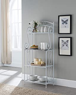 Kings Brand Furniture - Bulberry Metal Kitchen Storage Baker's Rack, White