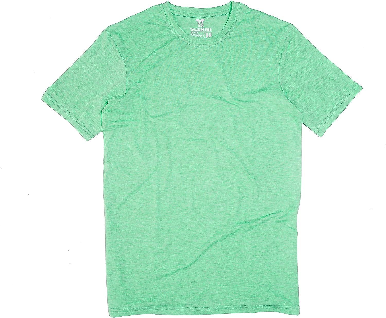 Men's Tall Slim-Fit Short Sleeve Crewneck T-Shirt, Soft Poly/Cotton Blend Long Tee