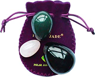 Kegel Muscle Training Eggs 3-pcs Set with 3 Sizes and 3 Gemstones, with Unwaxed Thread & Instructions, Made of Nephrite Jade, Rose Quartz and Obsidian, for Pelvic Floor Muscles Training, Polar Jade