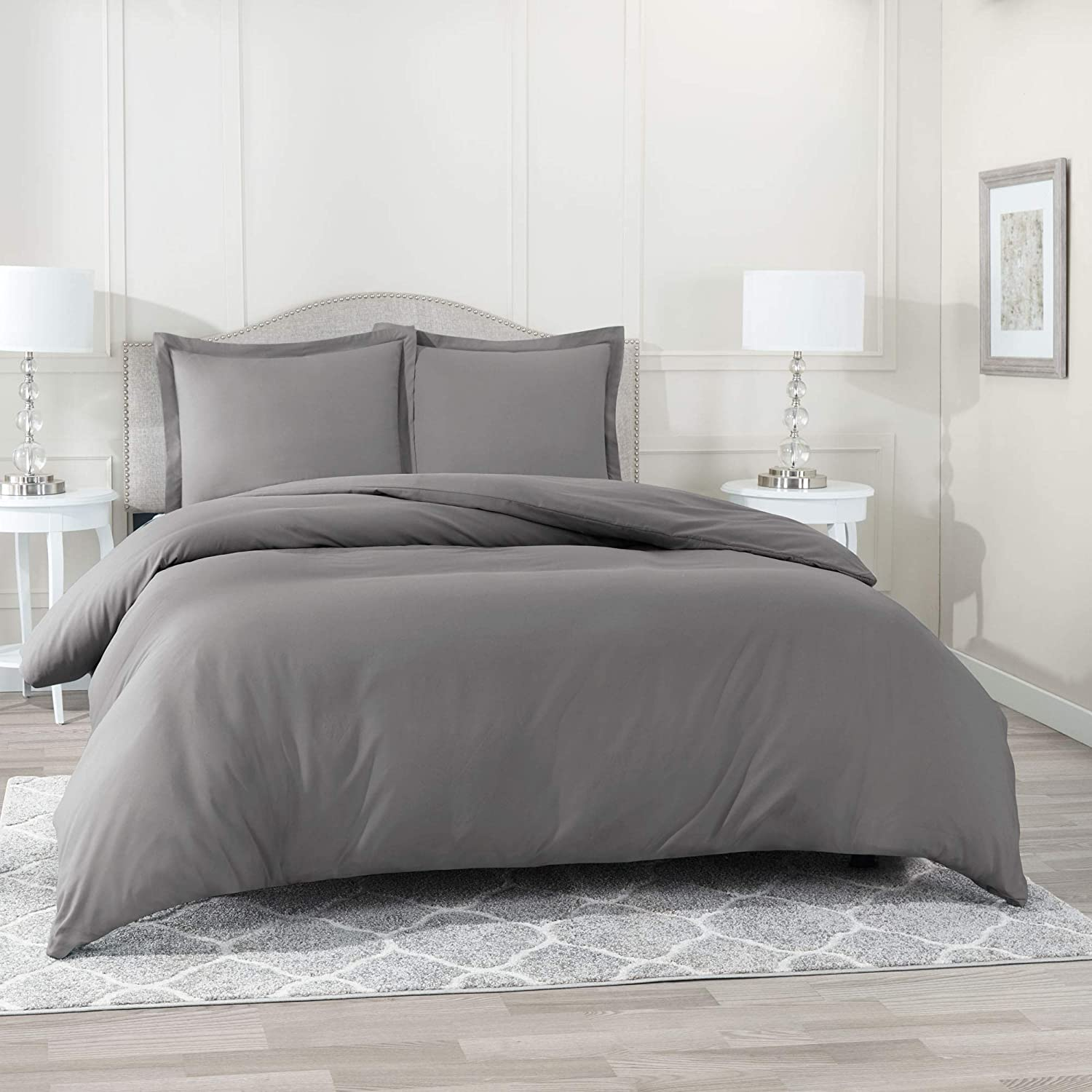 """Nestl Bedding Duvet Cover 3 Piece Set – Ultra Soft Double Brushed Microfiber Hotel Collection – Comforter Cover with Button Closure and 2 Pillow Shams, Gray - Queen 90""""x90"""""""