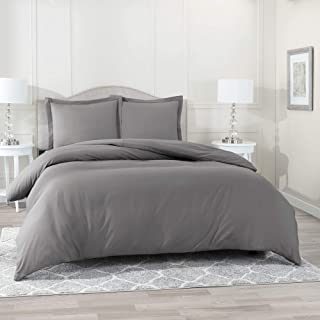 Nestl Bedding Duvet Cover 3 Piece Set – Ultra Soft Double Brushed Microfiber Hotel Collection – Comforter Cover with Button Closure and 2 Pillow Shams, Gray - California King 98