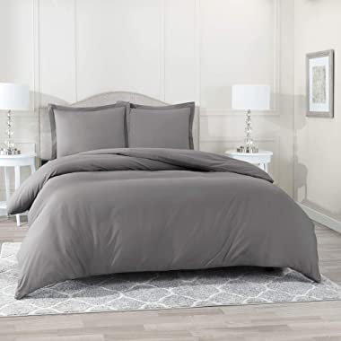 Nestl Bedding Duvet Cover 3 Piece Set – Ultra Soft Double Brushed Microfiber Hotel Collection – Comforter Cover with Button Closure and 2 Pillow Shams, Gray - King 90 x104