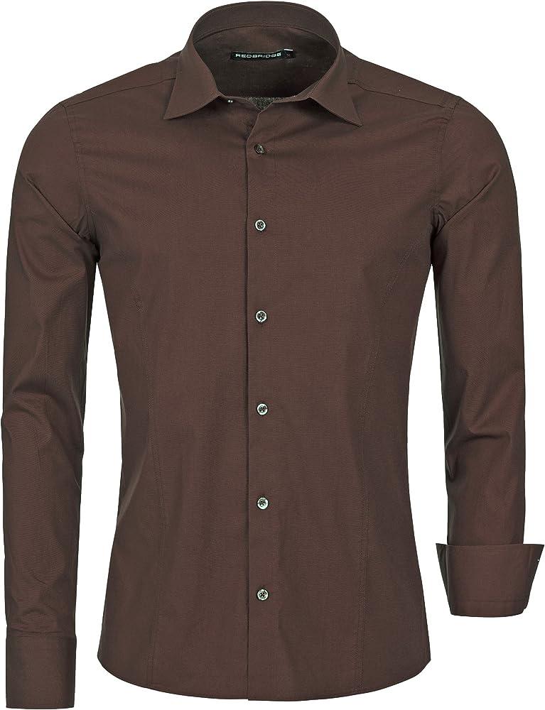 Redbridge, camicia per uomo, 97% cotone, 3% elastan, marrone R-2111O