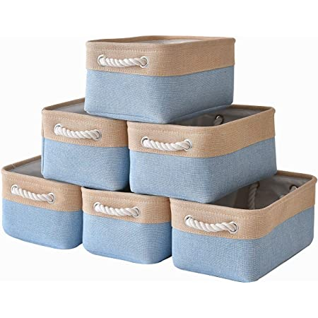 Books Rectangular Collapsible Baskets for organizing Clothes 6-Pack, White/&Khaki Gifts Sacyic Small Storage Baskets for Shelves Toys Fabric Storage Baskets for Closet