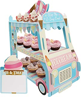 KAPOKKU 3 Tier Cupcake Stand Ice Cream Van Stand Cars Display StandCar Cupcake Cake Stand Paper Cupcake Holder for Theme Kids Birthday Party,Paper (Car Van stand cupcake holder)