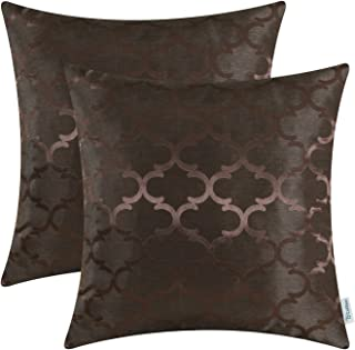 CaliTime Pack of 2 Cushion Covers Throw Pillow Cases Shells for Home Sofa Couch Modern Shining & Dull Contrast Quatrefoil Accent Geometric 18 X 18 Inches Coffee