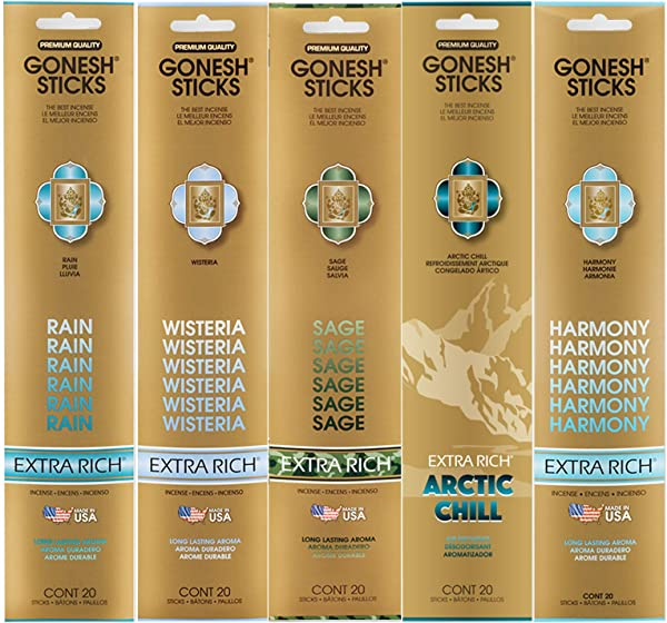 Gonesh Incense Extra Rich Collection Variety Pack 5 Packs 20 Sticks Each Rain Wisteria Sage Arctic Chill Harmony